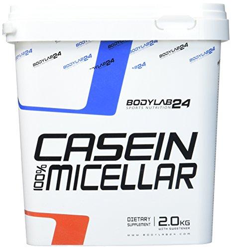 Bodylab24 Casein Pulver, Geschmack: Schokolade, optimaler Protein Shake aus Casein Proteinpulver zum Abnehmen und zum Muskelaufbau, 2000g Box inklusive Messlöffel.