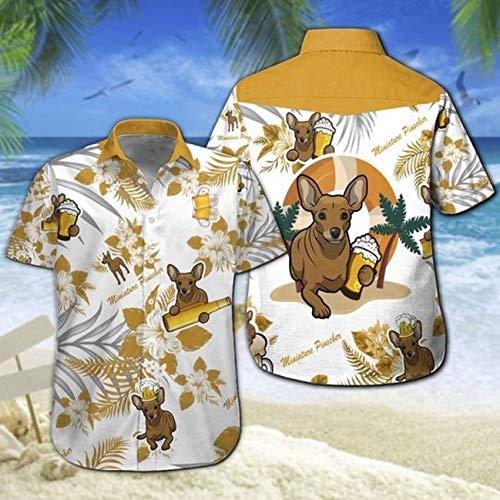 Teelux - Camiseta hawaiana con diseño de cerveza, color azul