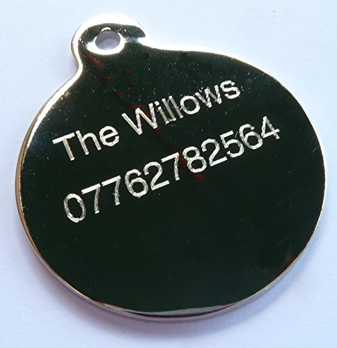 Engraved 25mm Round POLISHED STAINLESS STEEL Pet Cat Dog Pony Horse Tack Luggage ID Identity Tag Disc - FREE ENGRAVING - IN STOCK and Supplied by Busy Bits