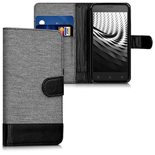 kwmobile Wallet Hülle kompatibel mit Lenovo B - Hülle Kunstleder mit Kartenfächern Stand in Grau Schwarz