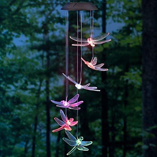 OSALADI Solar-Windspiel Libelle Mobile LED Licht Farbwechsel für Hof, Garten, Windspiel, Lampe, Zubehör, Heimdekoration (zufällige Farbe)