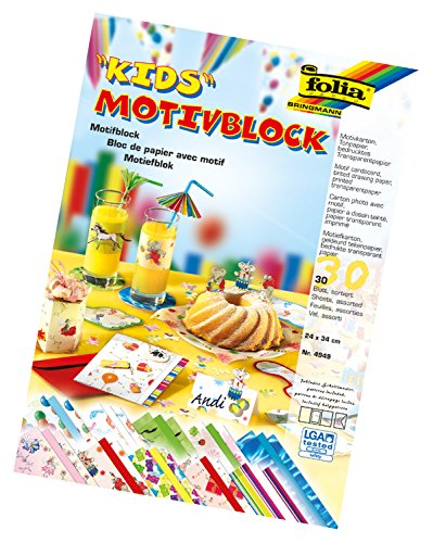folia 4949 - Motivblock Kids I, 24 x 34 cm, 30 Blatt, sortiert, 10 x Motivkarton, 10 x bedrucktes Transparentpapier, 10 x Tonpapier, für vielfältige Bastelarbeiten