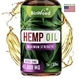 Hemp Oil Extract 40,000MG for Pain & Stress Relief - Made in USA - Relieves Insomnia, Anxiety, Omega 3, 6, 9 for Better Skin, Nails & Hair