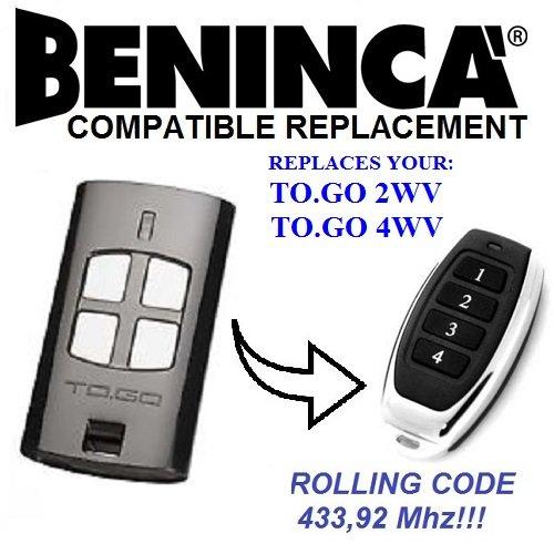 Beninca TO GO 4WV, To Go 2WV, T2WV, T4WV Beninca Ersatz-Fernbedienung, Top Qualität Schlüsselanhänger
