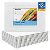 FIXSMITH Painting Canvas Panel Boards - 5x7 Inch Art Canvas,12 Pack Mini Canvases,Primed Canvas Panels,100% Cotton,Acid Free,Professional Quality Artist Canvas Board for Hobby Painters,Students & Kids