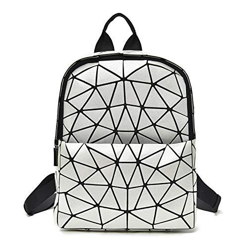 QXbecky Mochila láser Geometría Mochila para niña de rombo Mochila Coreana de Diamantes de Silicona Plegable Elección de Amazon