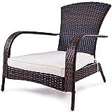 Costway Chaise de Jardin Fauteuil Extérieur en Rotin Résine Tressée avec Coussin Démontable pour Jardin Terrasse Balcon Salon 78 x 78 x 80 CM Marron