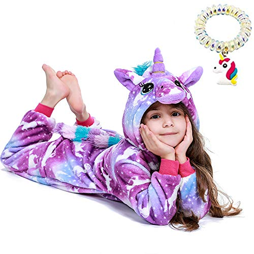 EuHigh Niños Pijama de Unicornio Suave Franela Uno Trozo Animal Disfraz Muchachas Regalo Cosplay Víspera de Carnaval Loungewear