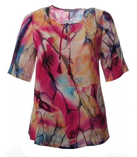 Chalou Damen Sommer Tunika Pink Gelb Kurzarm Sommer-Mode große Größen aus Viskose, Größe:48