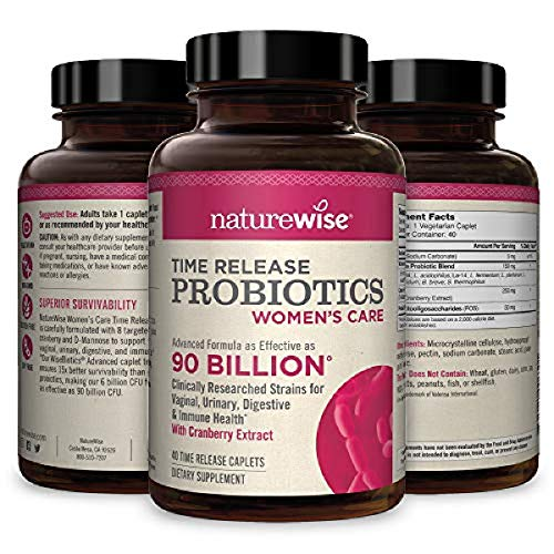 NatureWise Probiotics for Women | Time-Release Probiotic Supplement Comparable to 90 Billion CFU | Cranberry & D Mannose for Vaginal, Urinary, Digestive &...