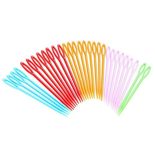 30 agujas de coser de plástico de Wowot. Ideales para niños, de 9 cm para su uso en manualidades y proyectos infantiles