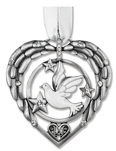 BANBERRY DESIGNS Memorial Christmas Ornament - Heart Shaped Ornament with White Dove Design - in Memory of Loved One
