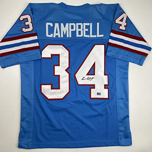 Autographed/Signed Earl Campbell Houston Blue Football Jersey Athlete Hologram COA