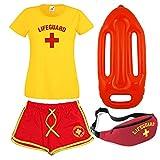 Damen Rettungs-T-Shirt, Shorts, Bauchtasche und Schwimmer, 4-er Set Gr. M, gelb/rot