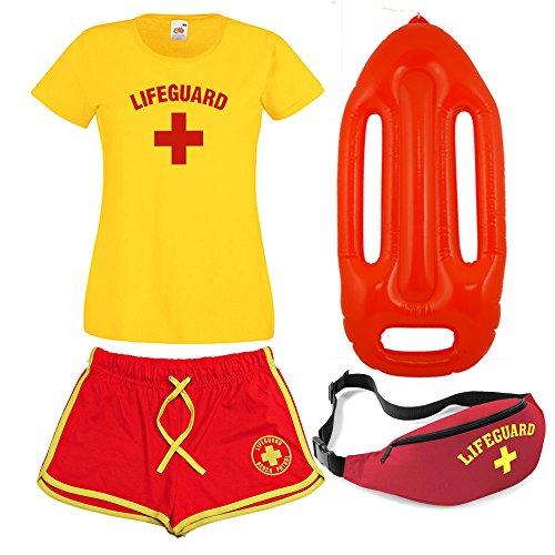 Damen Rettungs-T-Shirt, Shorts, Bauchtasche und Schwimmer, 4-er Set Gr. X-Large, gelb/rot