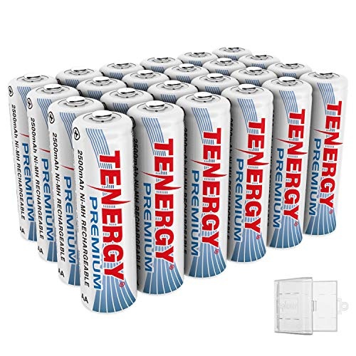 Tenergy 24 Pack Premium Rechargeable AA Batteries High Capacity 2500mAh NiMH AA Battery AA Cell Battery with 6 AA Holders