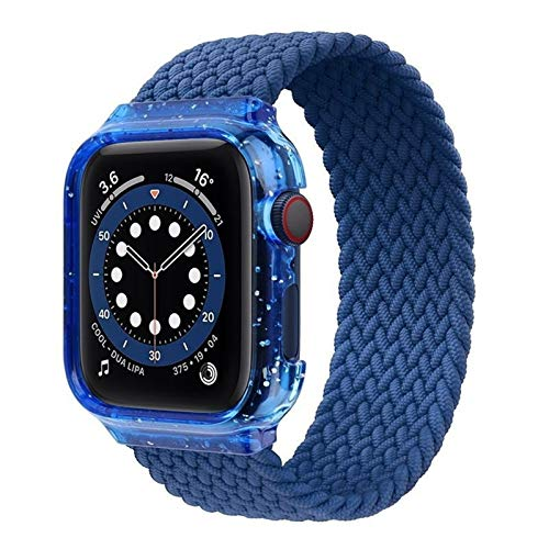 ZHONGGOZZ Brazo Solitario Trenzado for Apple Watch Band 44mm 40mm Caja + Tela de Correa Pulsera de Nylon for Banda de iWatch Strap Serie 4 5 SE 6 (Color : Atlantic Blue, Size : M(42mm-44mm))