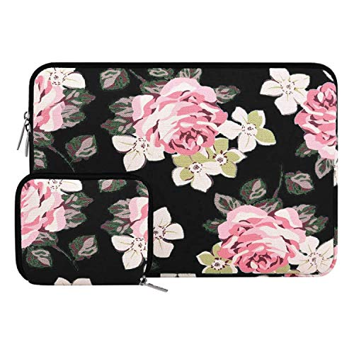 MOSISO Canvas Rose Pattern Sleeve Bag with Small Case Compatible with 13-13.3 inch Laptop, Pure Black