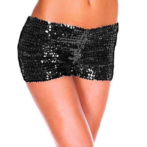 Pailletten Shorts Luckycat Sommerhosen Damen Kurz Mode Frauen Hohe Taille Yoga Shiny Sport Hosen Shorts Metallic Hosen Leggings Shorts Hose Sommerhosen Pants Hosen (Schwarz, Small)