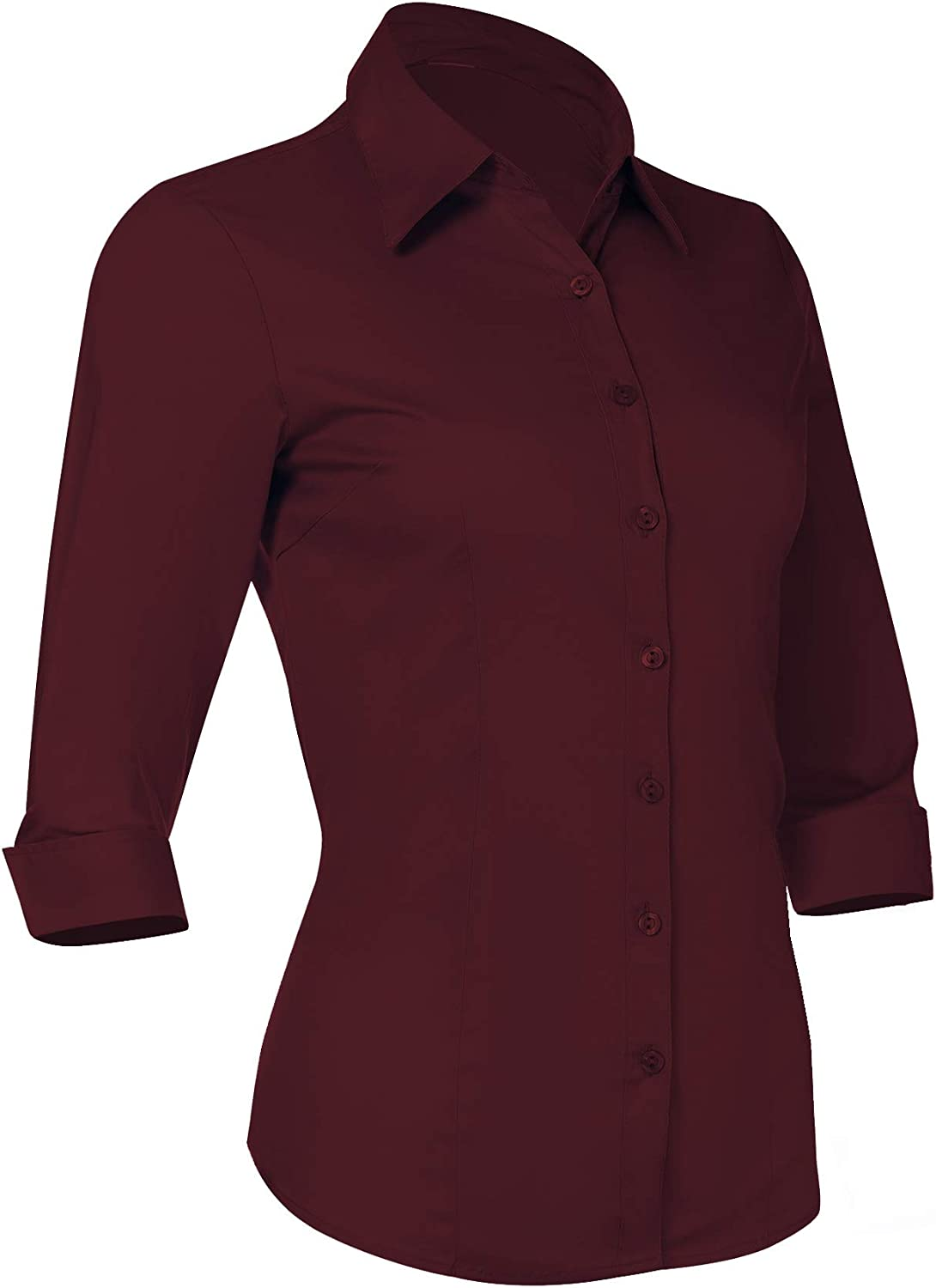 Pier 17 Button Down Shirts for Women, Fitted Long Sleeve Tailored Shirt Blouse