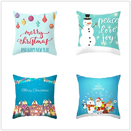 Set of 4 Pcs Throw Pillow Case Cushion Covers Blue Christmas Velvet Soft Superfine Fiber Square Decorative Throw Pillowcases for Living Room Sofa Car with Concealed Zip E5536 55x55cm/21.5x21.5in