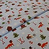 Hans-Textil-Shop 1 Meter Stoff Meterware Winter Weihnachten