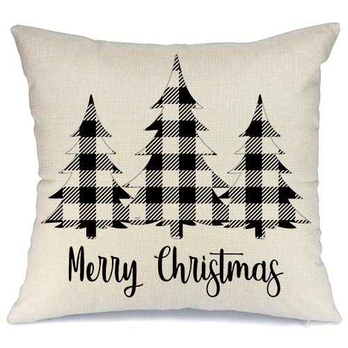 AENEY Christmas Plaid Pillow Cover 18x18 inch for Farmhouse Christmas Decor Black Buffalo Check Throw Pillow Buffalo Plaid Christmas Decorations Throw Pillow Cover