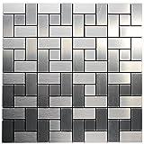 Royllent, Aluminum Mosaic Tile, Peel & Stick, Backsplash, Accent Wall, 1 sq.ft,Sliver Brick (RACP-HZX-25)