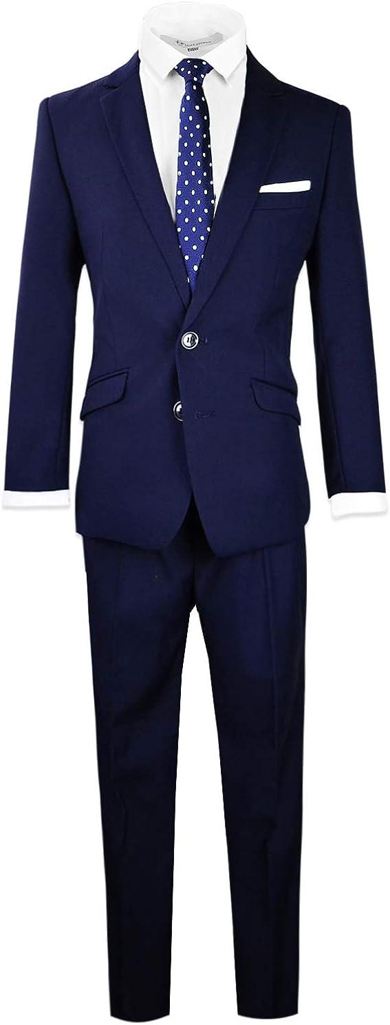 Black Large discharge Popular standard sale n Bianco Signature Boys' Suit Outfit Complete Fit Slim
