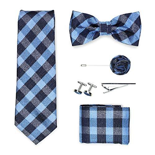 PUCCINI Geschenkbox | Krawatte, Fliege, Einstecktuch, Krawattennadel, Manschettenknöpfe, Ansteckblume | Karo-Muster | Handarbeit