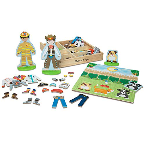Melissa & Doug Occupations Magnetic Dress-Up Wooden Dolls Pretend Play Set (82 pcs)