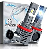 TECHMAX H11 LED Headlight Bulb,Small Design 60W 10000Lm 6500K Xenon White ZES Chips Extremely Bright H8 H9 Conversion Kit of 2