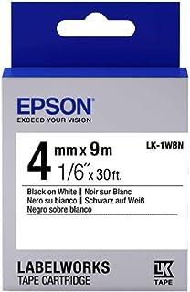 Fita Rotulador Epson LK-1WBN 4mm Preto/Branco