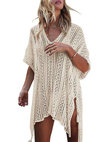 Walant Femmes Dentelle Crochet Blouse Maillot de Bain Taille Tunique Kimono Bohême Bikini Poncho Plage Cache-Maillots Robes de Plage Cover Up,Abricot,Taille unique