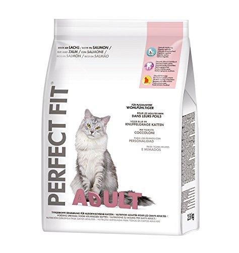 Perfect Fit kattenvoer voor volwassenen, rijk aan zalm, 3 verpakkingen (3 x 2,9 kg)