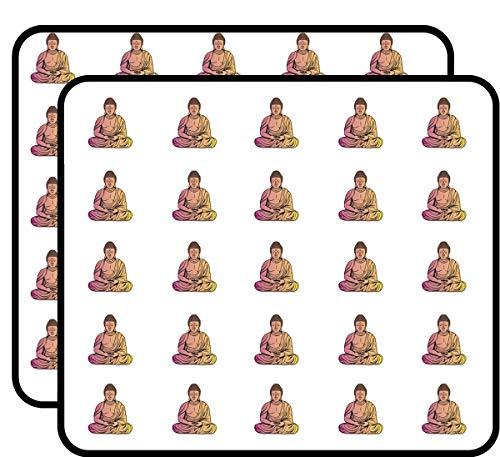Sitting Buddha Sticker for Scrapbooking, Calendars, Arts, Kids DIY Crafts, Album, Bullet Journals 50 Pack