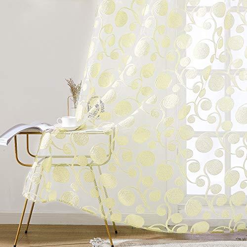 Topfinel Gardinen Ausbrenner mit Ösen und Blumen-Mustern Voile Vorhänge Fensterdekoration für Wohnzimmer Fenster Tür 2er Set je 245x145cm (HxB) Sahne