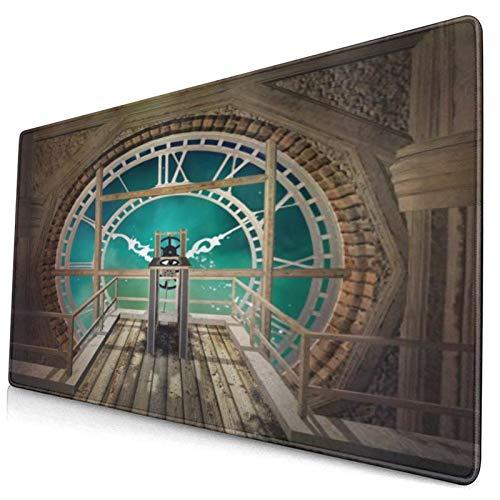 FOURFOOL Niestandardowe podkładki pod mysz do gier z przeszytą krawędzią fantazyjny widok wewnątrz wieży zegarowej drewniana antresola blady Boże Narodzenie przenośna antypoślizgowa gumowa podstawa podkładka pod mysz do laptopa komputera