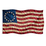 FRF Tea Stained 13 Stars American flag Besty Ross Flags 3x5 Vintage USA 1776 Banner Outdoor Decoration with Canvas Header & 2 Brass Grommets (3D Printed Star)
