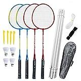 Gcroet Ensemble de Raquettes de Badminton-Ensemble de Badminton pour 4 Personnes avec Filet pour Jardin Ensemble de Badminton à...