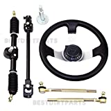 Steering Wheel Assembly Set 110cc Go Kart Tie Rod Rack Adjustable Shaft