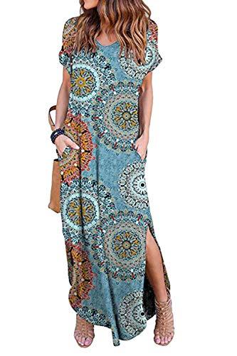Vestidos Mujer Casual Playa Largos Verano Floral Vestido Boho Hendidura Falda Larga Maxi Vestido Playeros Bluefloral S