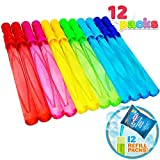 Joyin Toy 12 Pack 14'' Big Bubble Wand Assortment (1 Dozen) with Bubble Refill Solution - Super Value Pack of Summer Toy Party Favor (12 Bubble + 12 Refill Pack = 24pack)