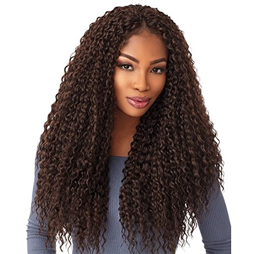 "Sensationnel Lulutress Crochet Braid Wet Curly 18"" (4-Pack) (#2 Dark Brown)"