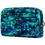 Bolsa de maquillaje, bolsa de cosméticos portátil, bolsa de viaje, bolsa de maquillaje grande para mujeres y niñas sirena lentejuelas verde Bling