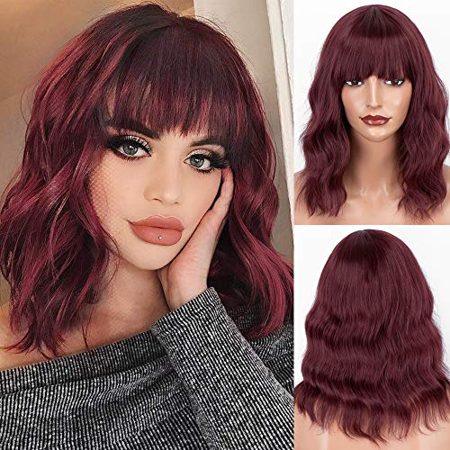 Wigs with Bangs for Women Synthetic Wavy Bob Wig Burgundy