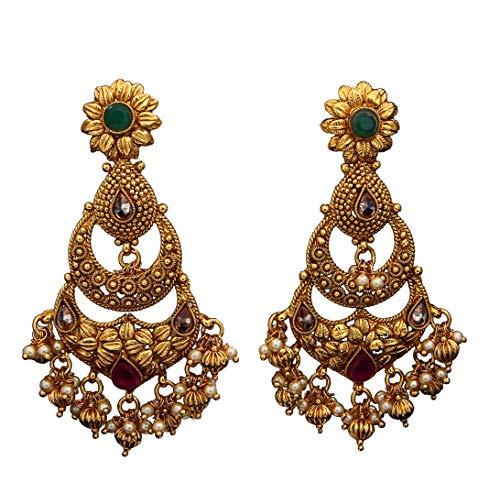 JewelryGift Pendientes colgantes tradicionales antiguos de Chandbali chapados en oro con...