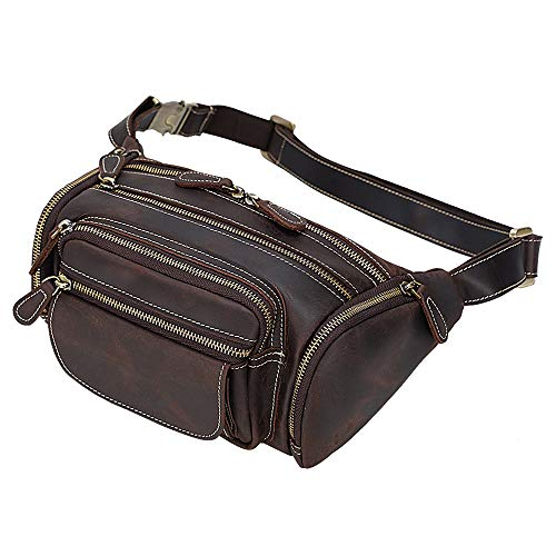 TIDING Men's Leather Waist Bag Large Capacity Vintage Fanny Pack Organizer for Running Hiking Cycling