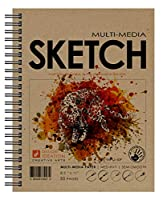 Design Ideationブランドのマルチメディア・スケッチブック:鉛筆、インク、マーカー、チャコール、水彩画用のプレミアムペーパークリエイティブプロジェクトブック。 アート、デザイン、教育に最適。 (8.5インチ×11インチ)。