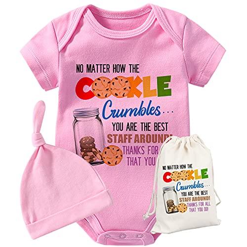 QIANWANYI Baby Twins Bodys Botella De Vidrio Lindo Trillizos Body Bebé Mamelucos Chica Traje Divertido Conjunto De Sombrero - rosa - 6-9 meses